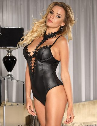 body effet cuir grande taille sexy